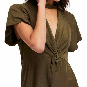 Free People Green Short Sleeve Just A Twist Top